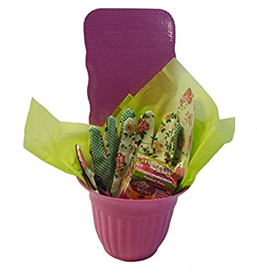 Gardening Gift set-Floral gardening tools-Includes 1 flower pot,kneeling pad,trowel,pruner,1 pair matching gloves,1 box of of Flower rocket flower seeds, 1 sheet of tissue paper. Women's gift set.