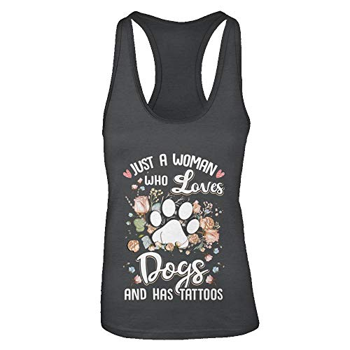 (TeesPass Women's Just A Woman Who Loves Dogs and Have Tattoos Shirt Tri-Blend Racerback Tank Top (Vintage Black, M))