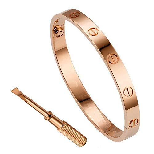 QUEEN JULIA Bracelets for Women Love Bracelet Bangle for Couples Buckle Pulseras de Mujer Titanium Steel Girlfriend Boyfriend Valentines Wedding