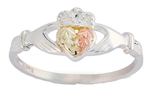 Claddagh Crown Ring, Sterling Silver, 12k Green and Rose Gold Black Hills Gold Motif, Size 5.75