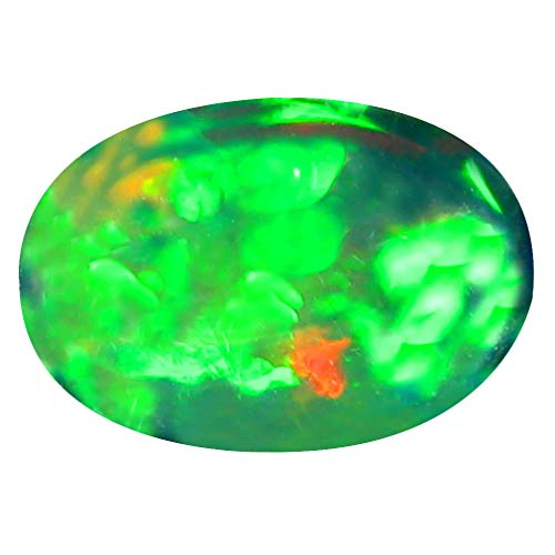 3.48 ct Oval Cabochon Cut (13 x 9 mm) Ethiopian Play of Colors Black Opal Loose Gemstone