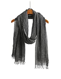 WS Natural Men and Women Unisex Linen Feel Scarf / Shawl / Wrap Classic Super Large with Gift Packaging (Charcoal Grey )