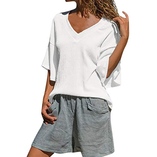 - Aniywn Women Flare Ruffle Short Sleeve White Tee Shirt Loose Boho V Neck Casual Tunic Tops Blouse