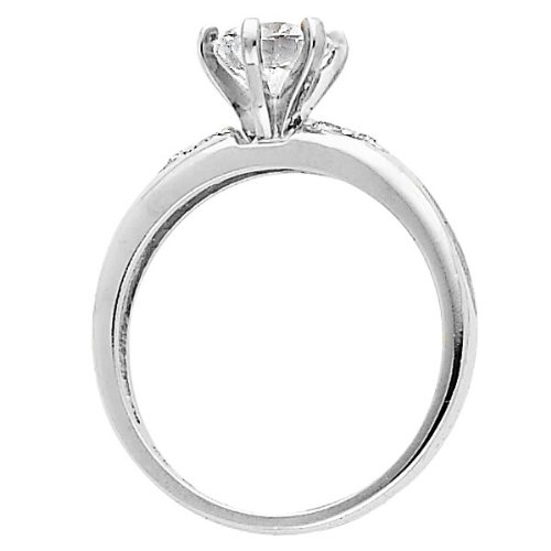 Wellingsale Ladies 925 Sterling Silver Polished Rhodium Engagement Ring And Wedding Band 2 Piece
