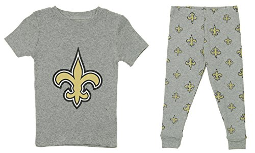 OuterStuff NFL Little and Big Boy's Short Sleeve Tee and Pant Sleep Set, New Orleans Saints (New Sleep Tee)