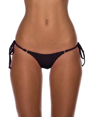 Sheridyn Swim Women's Tie Side Brazilian Bikini Bottom Black Small