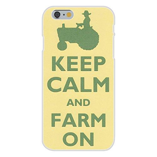 Apple iPhone 6+ (Plus) Custom Case White Plastic Snap On - Keep Calm and Farm On Farmer w/ Tractor ()