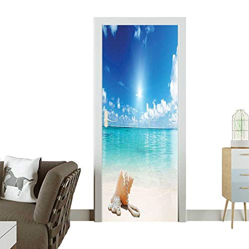 Homesonne Door Sticker Wallpaper Pearls y Beach Ocean Dreami Coastal Charm Image Turquoise Fashion and Various patternW23 x H70 INCH