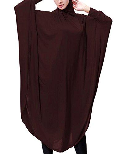 Coffee Cromoncent Dress Womens Batwing Hooded Kaftan with Dress Muslim Dress Dubai Sleeve UFqfWqnP