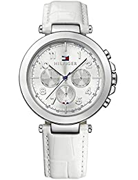 Womens 1781448 White Leather Strap Silver Dial Chronograph Watch