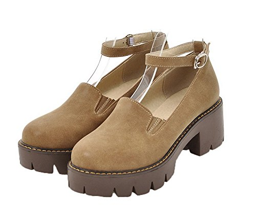 Pumps Shoes Kitten Closed Solid Women's Heels PU WeenFashion Buckle Round Yellow Toe xZgvqzpw