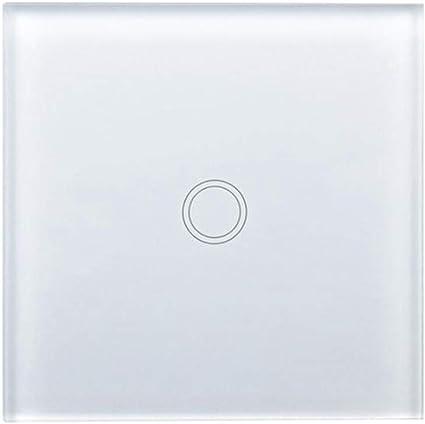 Blanco, 3 Gang Haobing Interruptores de luz con indicador LED UK//EU Interruptor de Pared de Pantalla tactil de Vidrio