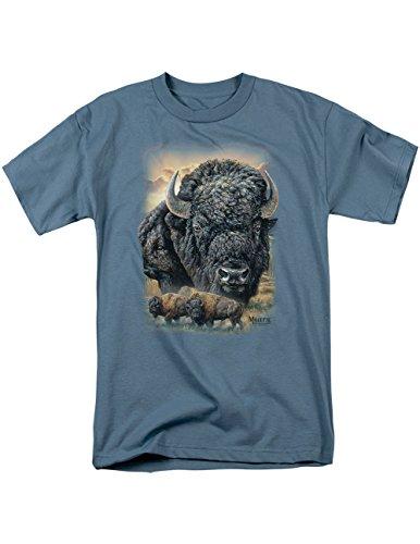 American Bison Range - Millette Sunset Buffalo Slate T-Shirt, American Bison Roaming The Range