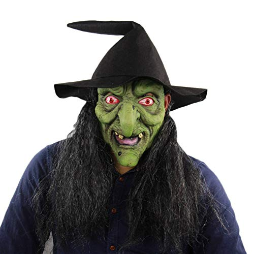 ManY Costume Masks Green-Faced Witch Halloween Horror