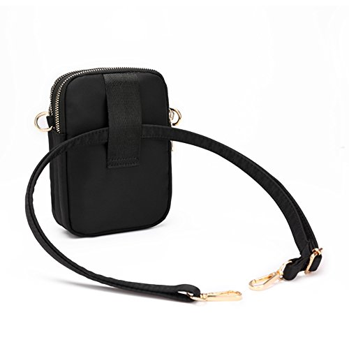 Phone Crossbody Clip Pouch Black Smartphone Purse Bag Mini Belt Nylon Wallet Collsants Cell 15Zqwxg