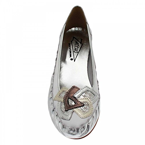 Zaccho Low Wedge Ballet Pump White Silver