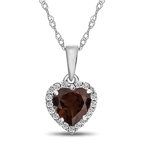 Finejewelers 10k White Gold 6mm Heart Shaped Garnet with White Topaz accent stones Halo Pendant - Mm Garnet 6 Heart