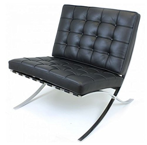 EMODERN FURNITURE eMod - Knoll Barcelona Chair Superior Craftsmanship Premium Aniline Leather Stainless Steel Frame (Black)