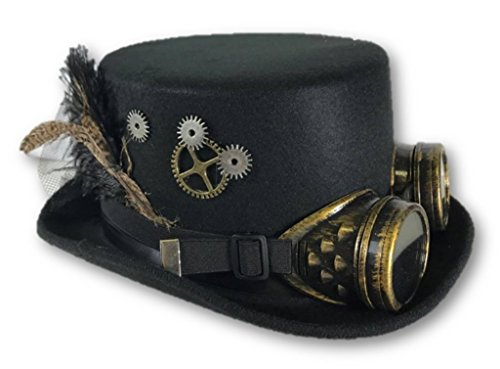 Steampunk Hat (Black Steampunk Victorian Top Hat Adult Feathers Gears Goggles Costume Accessory)