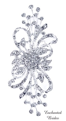 strian Rhinestone Crystal Brooch in Assorted Plated Colors of Rhinestone-Encrusted Ribbon and Floral Design for Wedding, Prom, Quinceañera or Other Special Events #D2G8 (SILVER) ()