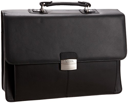Kenneth Cole Reaction Flap-py Gil-more Genuine Leather Double Gusset Portfolio - Black ()