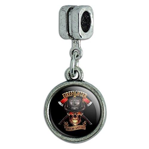 (GRAPHICS & MORE Firefighter Skull First in Last Out Fireman Italian European Style Bracelet Charm Bead)
