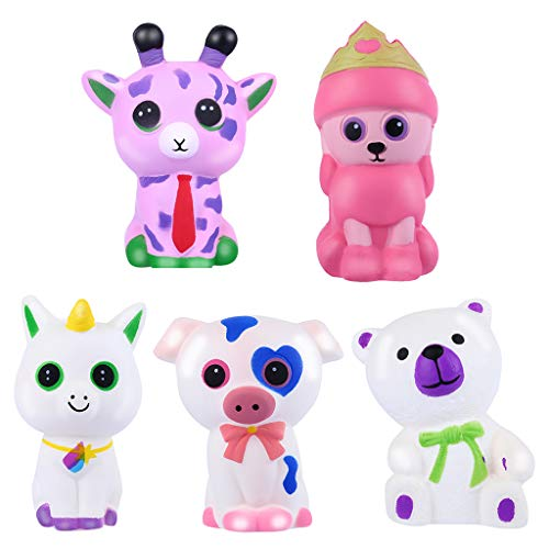 NIUQI 5pcs Adorable Animals Slow Rising Cream Squeeze Scented Stress Relief Toy -