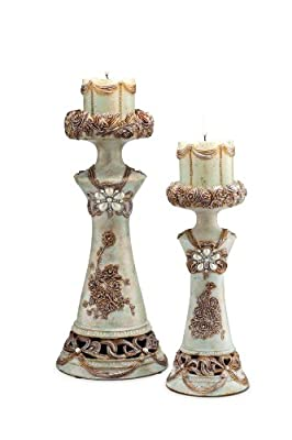 ORE International K-4203C Vintage Rose Candleholder, Set of 2