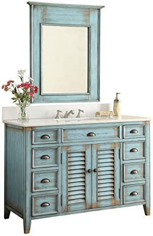 46 Abbeville Rustic Blue Distressed Bathroom Sink Vanity with Mirror CF-28885-MIR