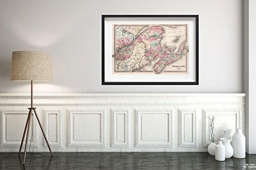 New York Map Company ™ 1874 World Atlas Map|Dominion of Canada Eastern sheet|Historic Antique Vintage Reprint|Size: 16x24|Ready to Frame