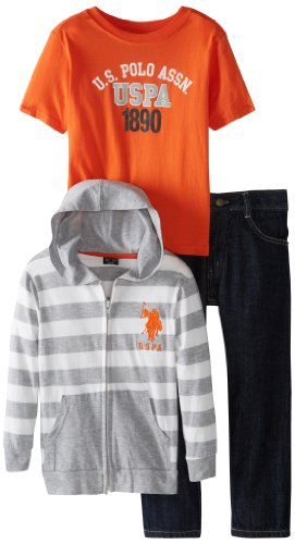 U.S. Polo Assn. Boys 2-7 Striped Hoodie T-Shirt and Five Pocket Denim Pant