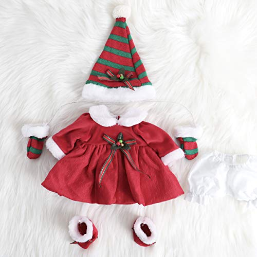 ENADOLL Reborn Baby Doll Christmas Clothes Outfit for 16 Inch Reborns Newborn Babies Matching Clothing Festival Red Dress Five-Piece Set (Reborn Dress Baby)