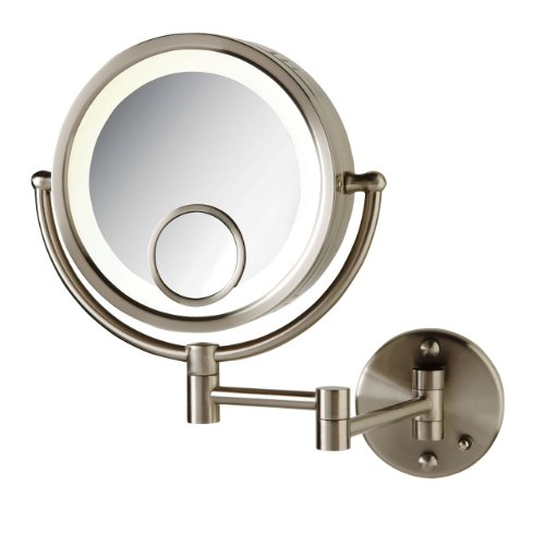 See All HLNSP8715D Halo Lighted 8-Inch Diameter Wall Mounted Make Up Mirror 7x with 15x Inset Direct Wire, Nickel (Inset Bathroom Mirror)