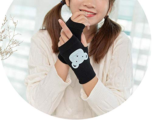 Unique Style Half Finger Mittens for Women Cartoon Printing Female Casual Gloves Black Cutes Mitaine