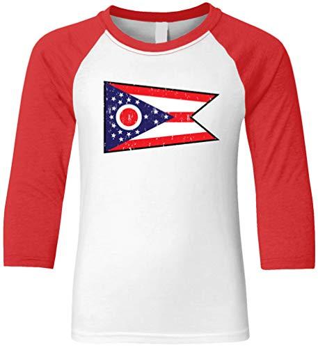 Amdesco State Flag of Ohio Youth Raglan Shirt, Red/White X-Small