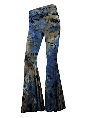 184739f677 Sugar Rock Women Paisley Palazzo Hippie Pants Fold-Over Waist Bell Bottom  Leg,Brown