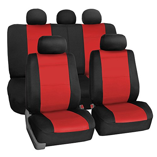 (FH Group FB083RED115 Full Set Seat Cover (Neoprene Waterproof Airbag Compatible and Split Bench Red))
