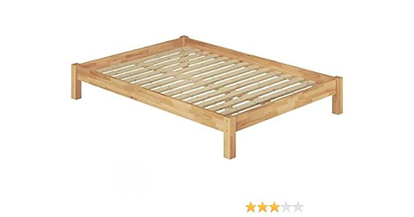 Erst-Holz Futon Cama Doble extralarga (140 x 220 massivholzbett Haya Natural somier Enrollable 60.84 – 14 – 220
