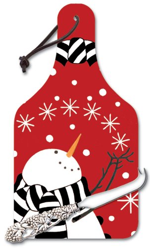 CounterArt Snowman on Red Big Cheese Glass Board with Cheese Knife, 14-1/4-Inch