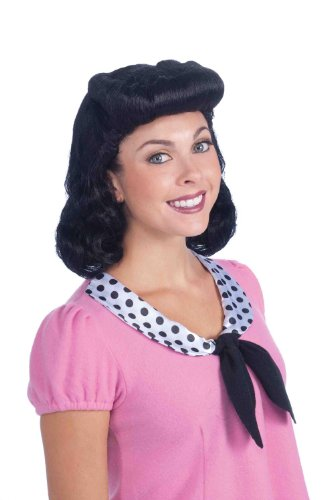 Forum Novelties Women's 40's Housewife Lady Costume Wig, Black, One Size - 40's Women Costumes