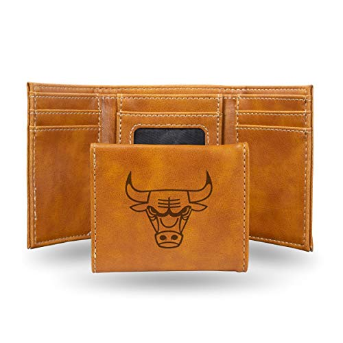 Rico Industries NBA Chicago Bulls Laser Engraved Tri-Fold Wallet, Brown