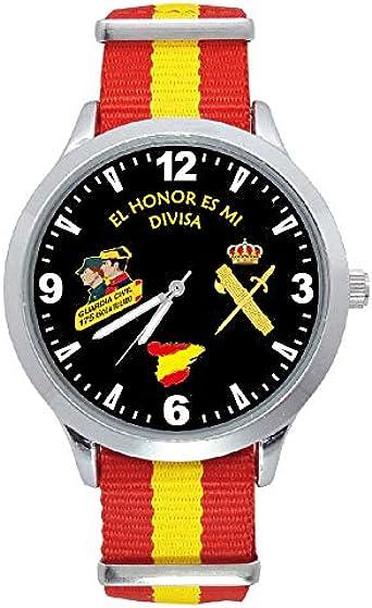 Reloj G&B Guardia Civil Correa Bandera España Esfera Negra: Amazon.es: Relojes