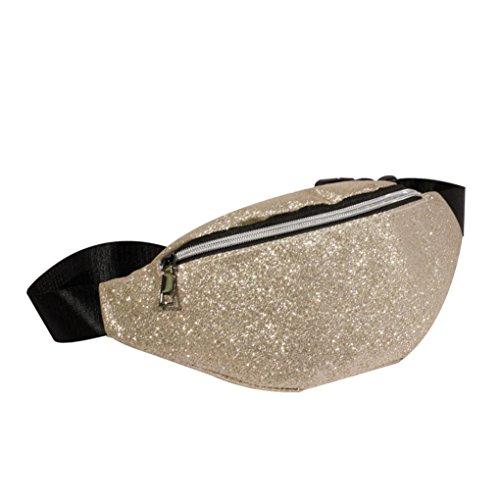Lavany Women Handbags,PU Leather Sequins Shoulder Bags for Travel Running Waist Pack (Beige)