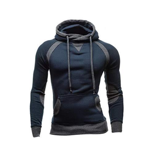 (Fanteecy Mens Slim Fit Hoodie Color Block Pullover Hooded Sweatshirt Outwear Hoodies with Kanga Pocket (M, Navy))