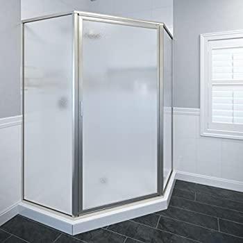 Basco Deluxe Neo Angle Shower Door Obscure Glass Brushed