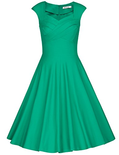 MUXXN Ladies Vintage Style Wide Strap Sheath Waist Pinup 1960s Dress (Grass Green M)]()
