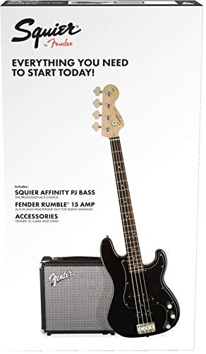 Squier by Fender PJ Electric Bass Guitar Beginner Pack with Rumble 15 Amplifier - Black Finish -