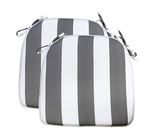 Fabritones Outdoor Cushions 16x17 Inches 2 Pack Comfortable Seat Pads Grey Stripe Pattern Square Chair Pads for Outdoor Patio Furniture Garden Home Office
