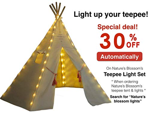 Kids Teepee Tent - Large 6 Feet Tipi with a Floor, Five Poles, Window & Carrying Bag. Foldable Children's Playhouse for Indoor or Outdoor Play. Popular Boys & Girls Gift For Thanksgiving & Christmas. by Nature's Blossom (Image #5)