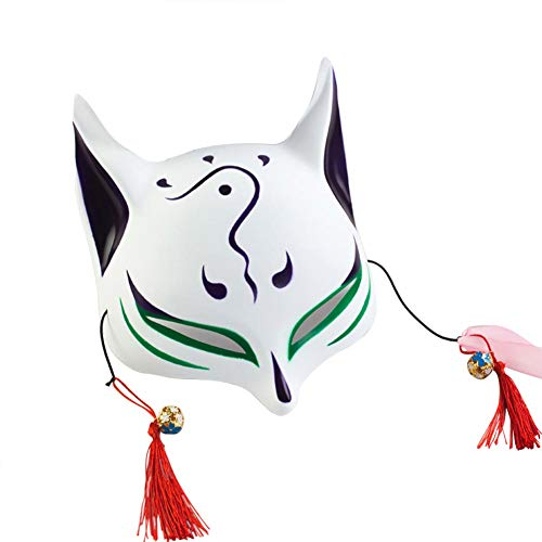 Fox Mask for Adults Kids Japanese Kabuki Masquerade Costume Mask Halloween (Green)
